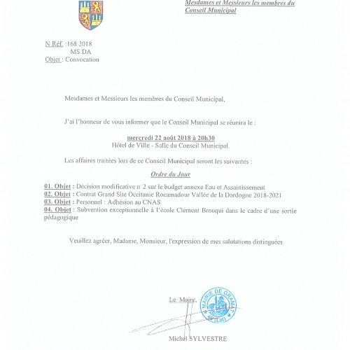 Conseil Municipal, Mercredi 22 août