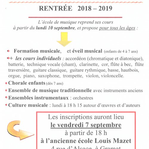 Ecole de musique - rentrée 2018-2019